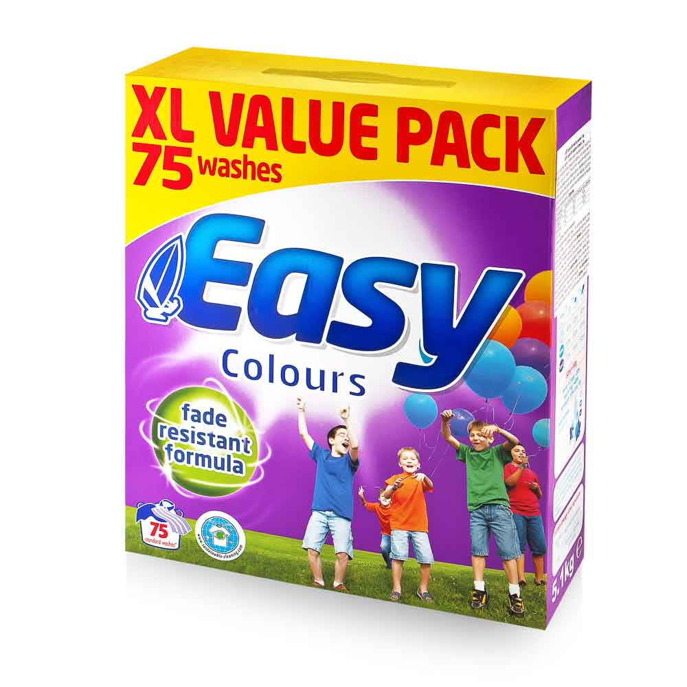 EASY Colours skalbimo milteliai su apsauga nuo išblukimo, 75 skalbimai, 5,1kg