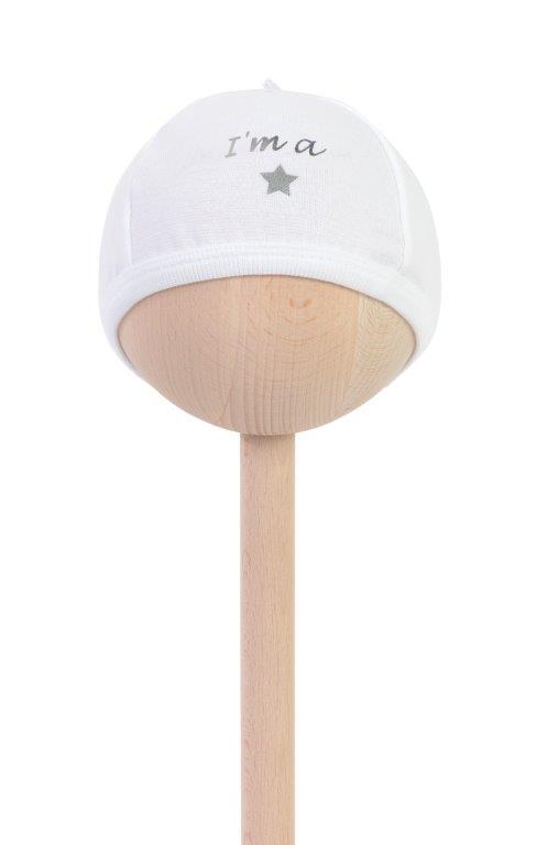 Balta kepurytė I'm a star naujagimiui 50/56 cm BAM BAM, 1 vnt