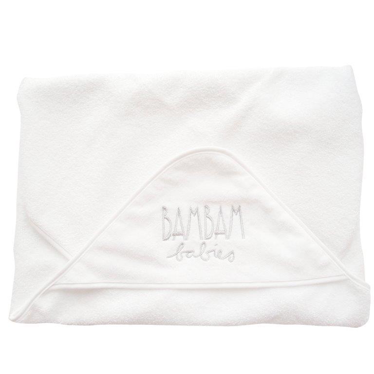 Baltas vonios rankšluostis su gobtuvu Babies BAM BAM, 1 vnt