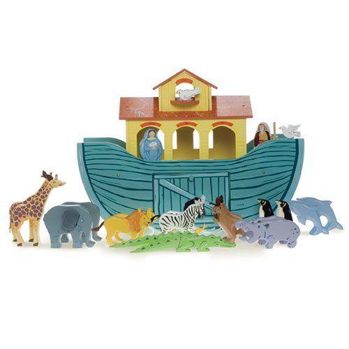 Didelis medinis laivas su gyvūnais LE TOY VAN Arks vaikams nuo 3 metų (TV259)