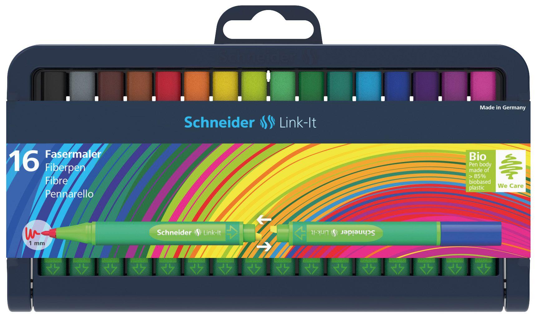 Flomasterių Link-It 1,0 mm rinkinys dėkle 16 vnt., SCHNEIDER