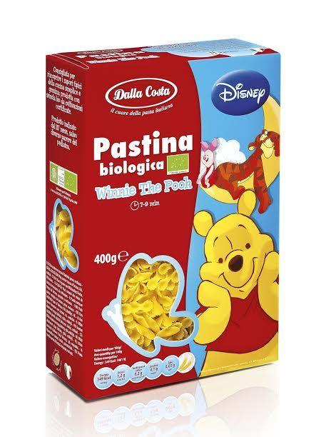Ekologiški kietagrūdžių kviečių miltų makaroniukai DALLA COSTA Winnie the Pooh vaikams nuo 10 mėn., 400g