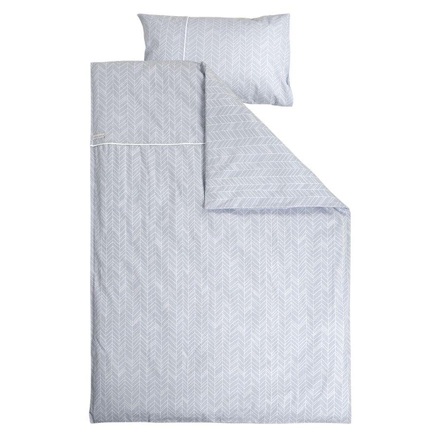 Užvalkalas antklodei ir pagalvei LITTLE DUTCH Grey leaves, 100 x 140 cm ir 40 x 60 cm (0535)