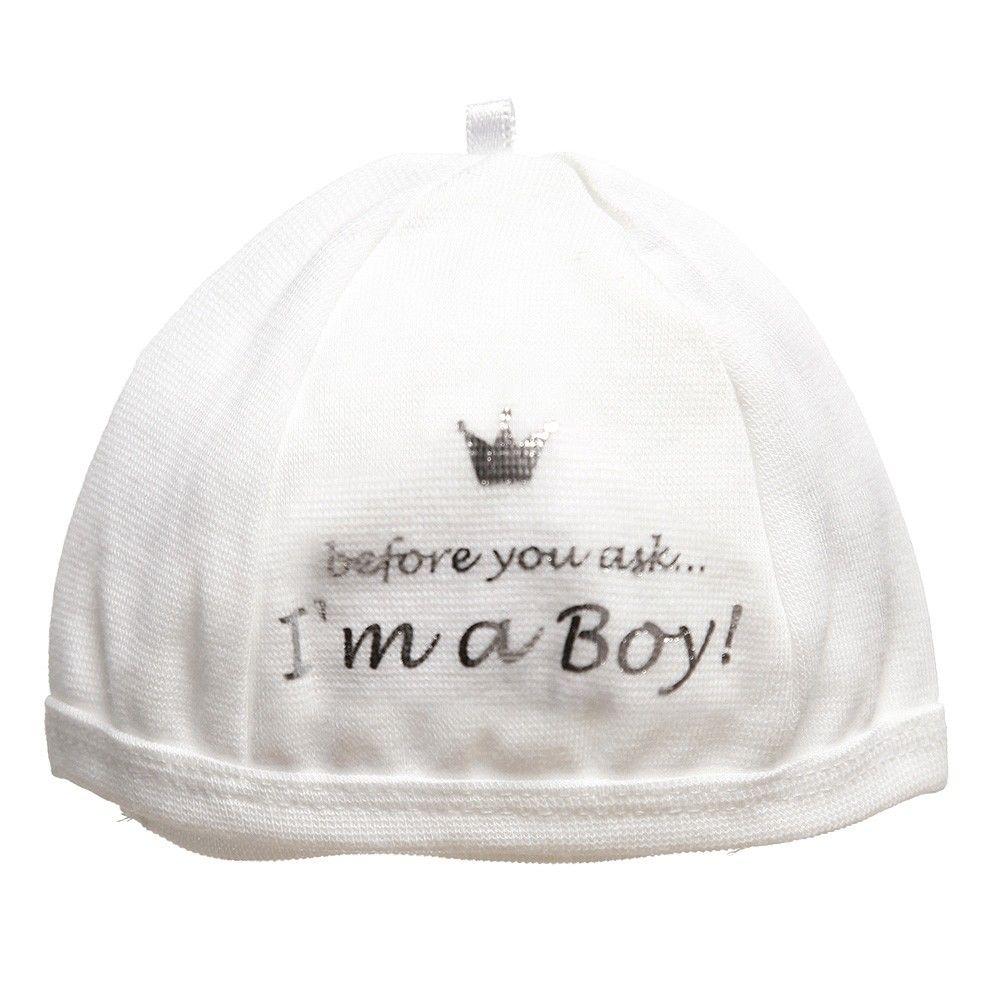Balta kepurytė  I am a Boy naujagimiui 50/56 cm BAM BAM, 1 vnt