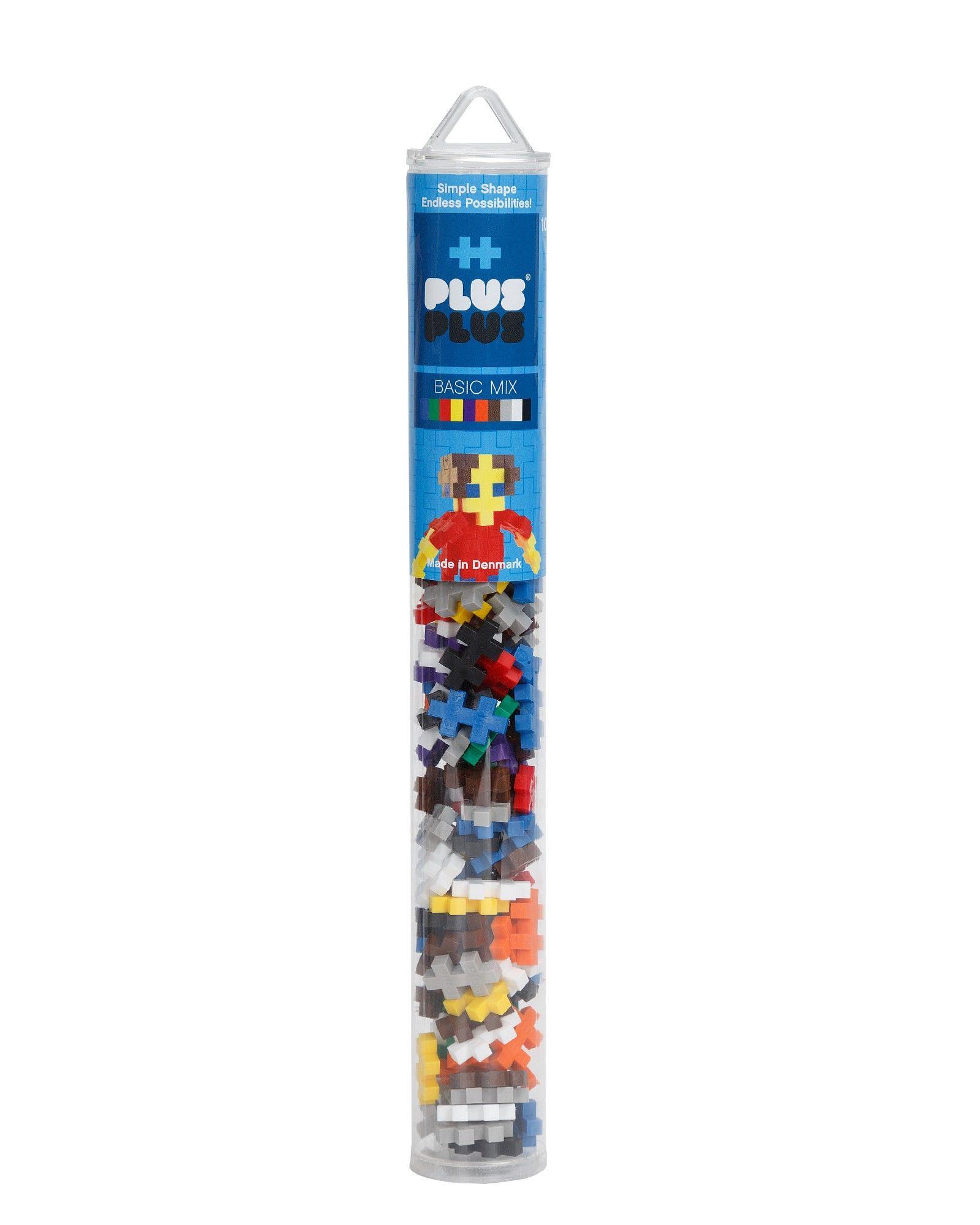 Kūrybiškumą skatinantis bazinių spalvų konstruktorius PLUS PLUS Mini Vamzdelis vaikams nuo 3 metų, 100 vnt. (4023)