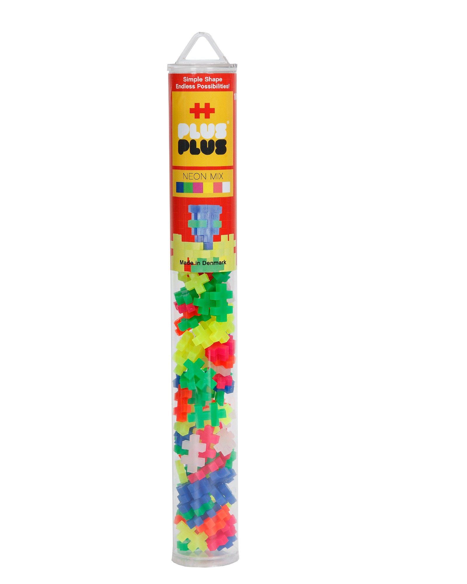 Kūrybiškumą skatinantis neoninių spalvų konstruktorius PLUS PLUS Mini Vamzdelis vaikams nuo 3 metų, 100 vnt.  (4024)