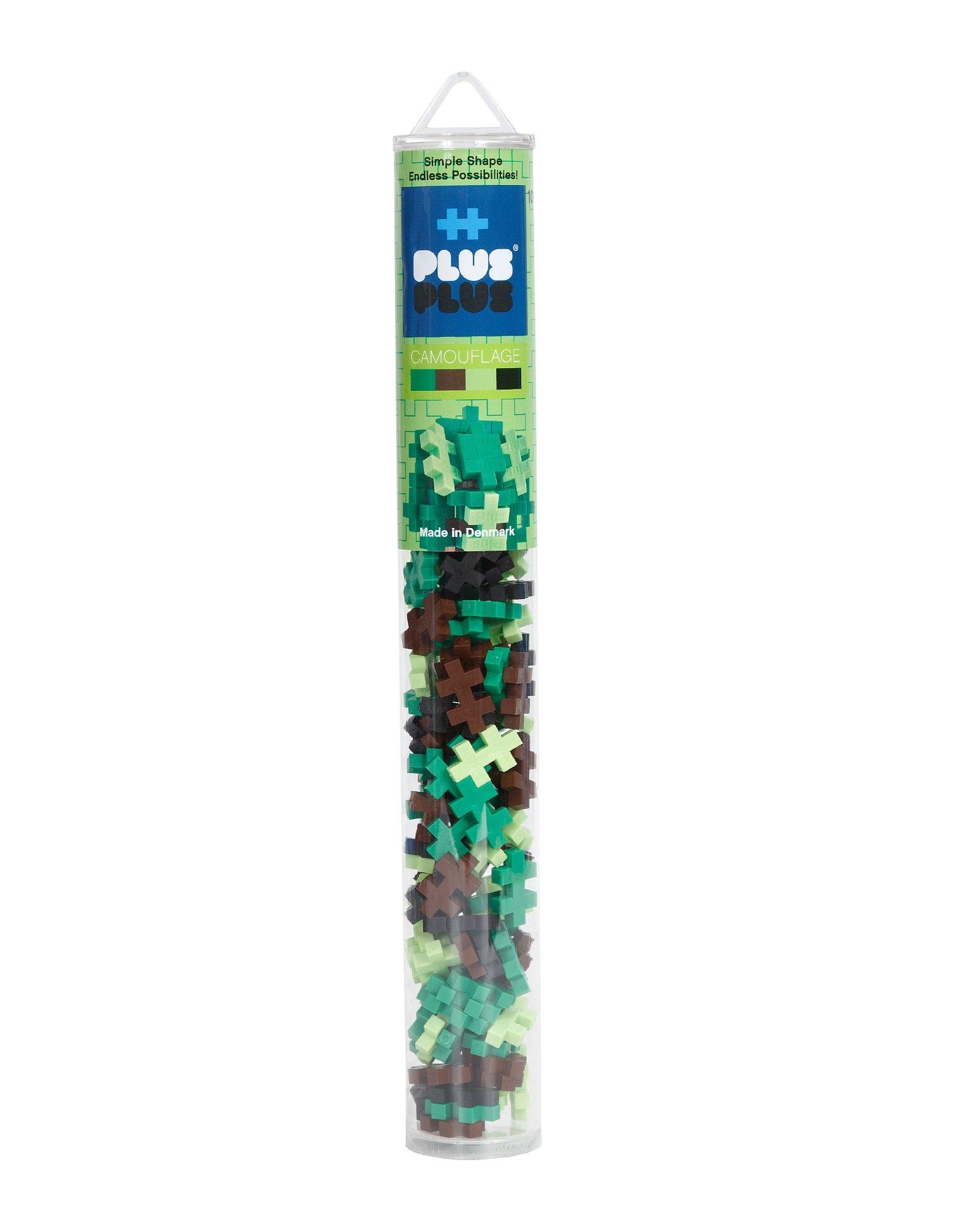 Kūrybiškumą skatinantis kamufliažinių spalvų konstruktorius PLUS PLUS Mini Vamzdelis vaikams nuo 3 metų, 100 vnt. (4027)