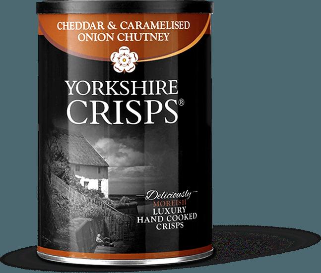 Traškučiai YORKSHIRE CRISPS su čederiu ir karamelizuotais svogūnais,50g