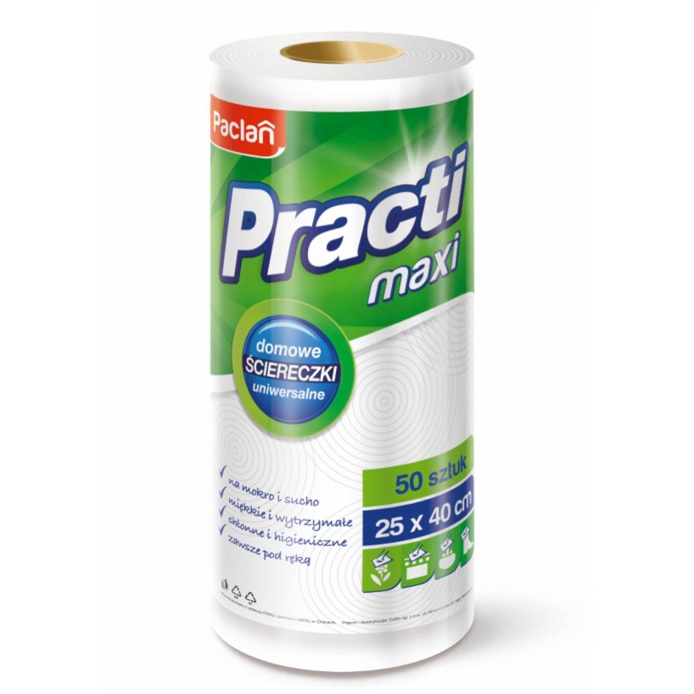 Universalios šluostės PACLAN Practi Maxi, patogiame ritinėlyje, 25 x 30 cm, 50 vnt.