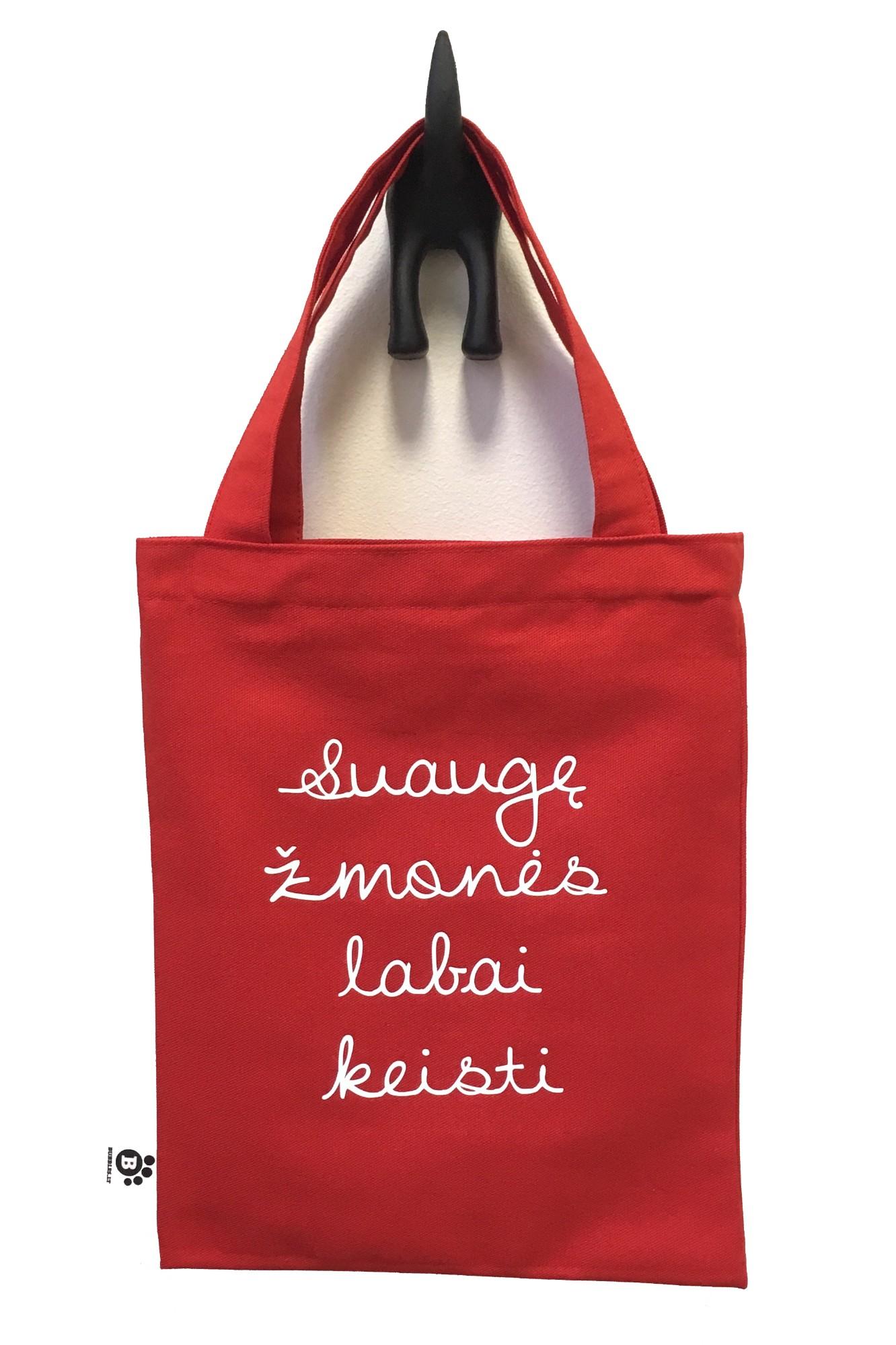 """Vaikiškas krepšys BUBBLES """"Suaugę žmonės labai keisti"""" dydis 25x35cm, violetinės spalvos"""