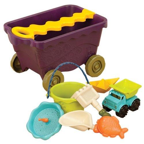 Smėlio žaislų vežimas su rankena B-TOYS 18 mėn.-8 m. vaikams, 11 detalių (BX1309Z)
