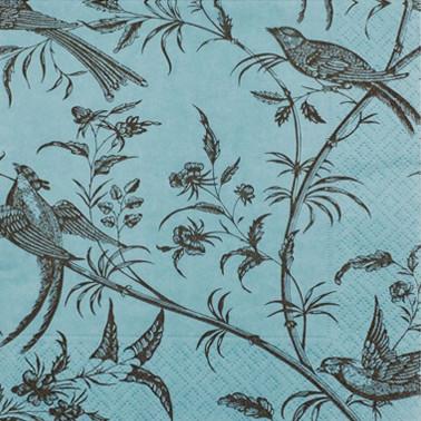 Mėlynos servetėlės CEDON su paukščiais, 20 vnt.