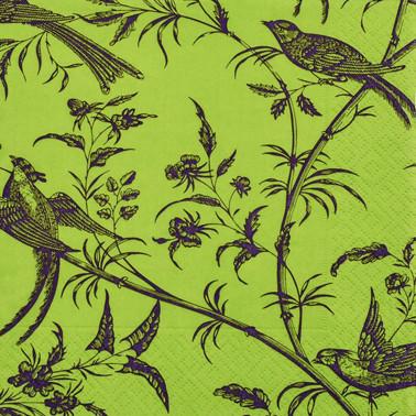 Žalios servetėlės CEDON su paukščiais, 20 vnt.