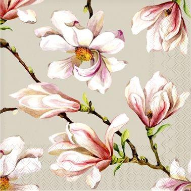 Pilkos servetėlės CEDON su magnolijų žiedais, 20 vnt.