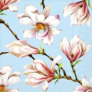 Žydros servetėlės CEDON su magnolijų žiedais, 20 vnt.