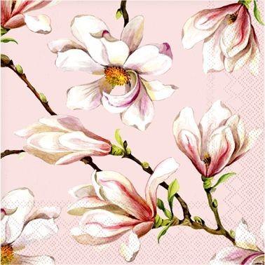 Rožinės servetėlės ABODEE su magnolijų žiedais, 20 vnt.
