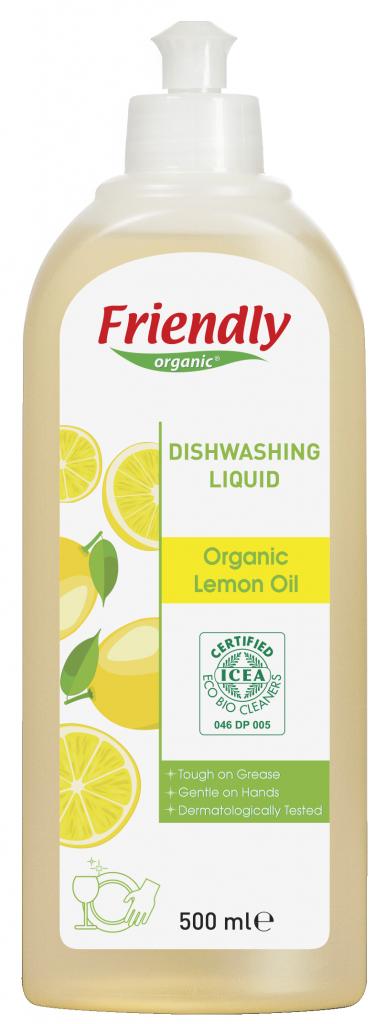 Ekologiškas indų ploviklis FRIENDLY ORGANIC su citrinų aliejumi, 500 ml