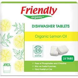 Ekologiškas indaplovių tabletės FRIENDLY ORGANIC su citrinų aliejumi, 25 vnt.