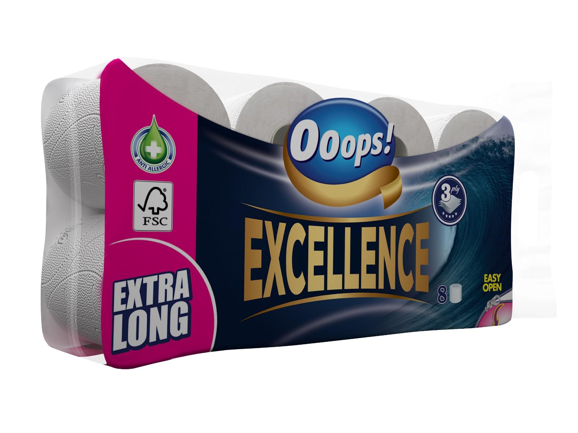 Tualetinis popierius OOOPS! Excellence 8 ritinėliai, 3 sluoksniai