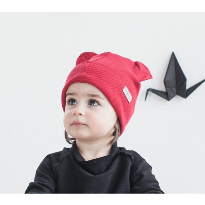 Dviguba vaikiška kepurė BUBOO Bear, vyšninė (37-41 cm)