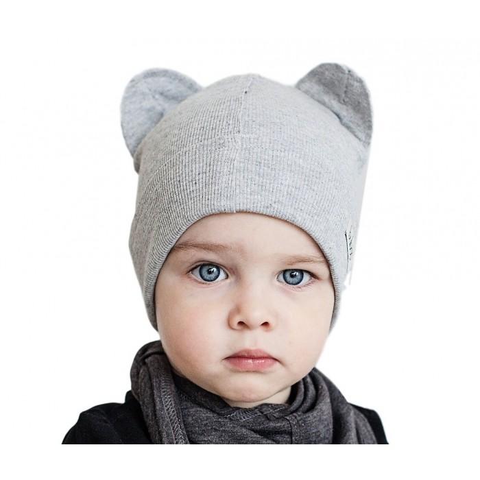 Dviguba vaikiška kepurė BUBOO Bear, šviesiai pilka (46-53 cm)