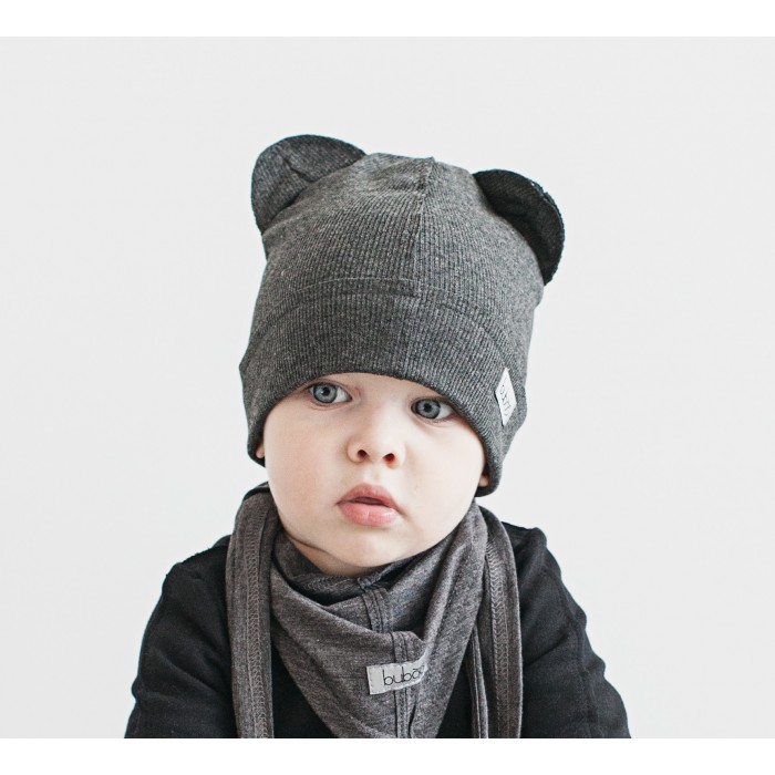 Dviguba vaikiška kepurė BUBOO Bear, tamsiai pilka (46-53 cm)