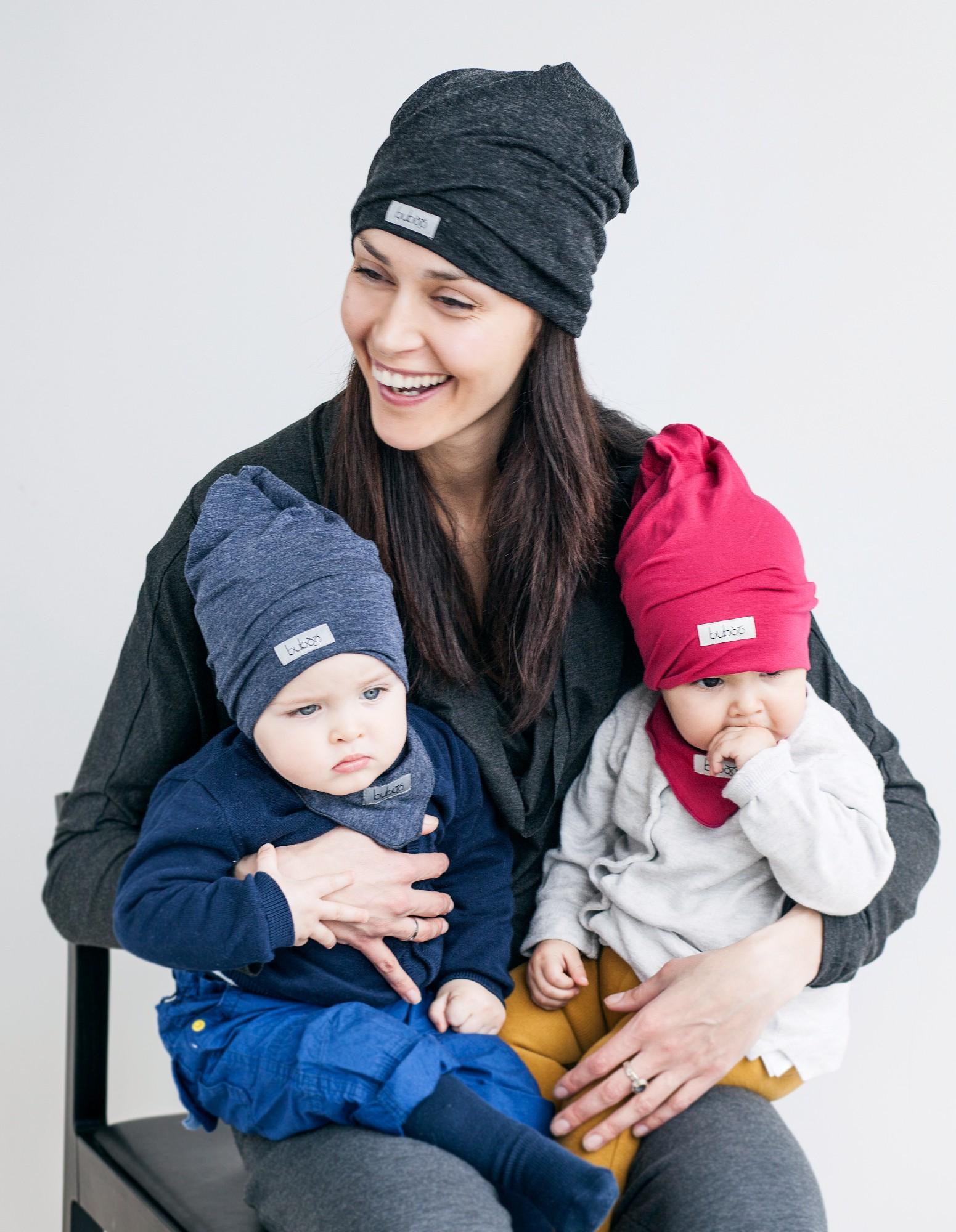Dviguba vaikiška kepurė BUBOO Screw2, tamsiai pilka (41-45 cm)