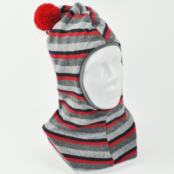Dvigubas, dryžuotas vilnos šalmukas BUBOO 6 mėn.-3 metų vaikams, vyšninis (1)