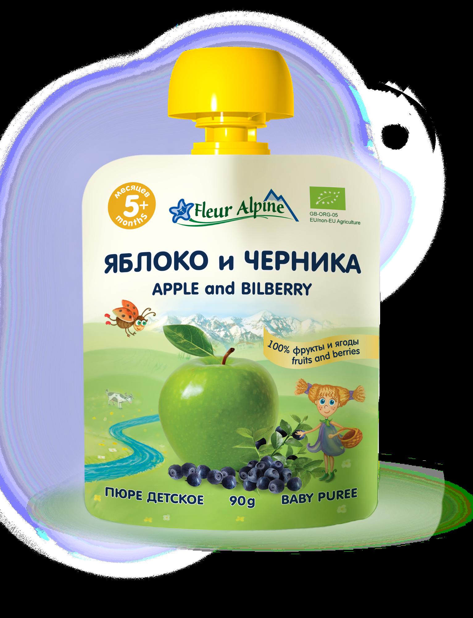 Ekologiška obuolių, mėlynių tyrelė FLEUR ALPINE kūdikiams nuo 5 mėn., 90 g