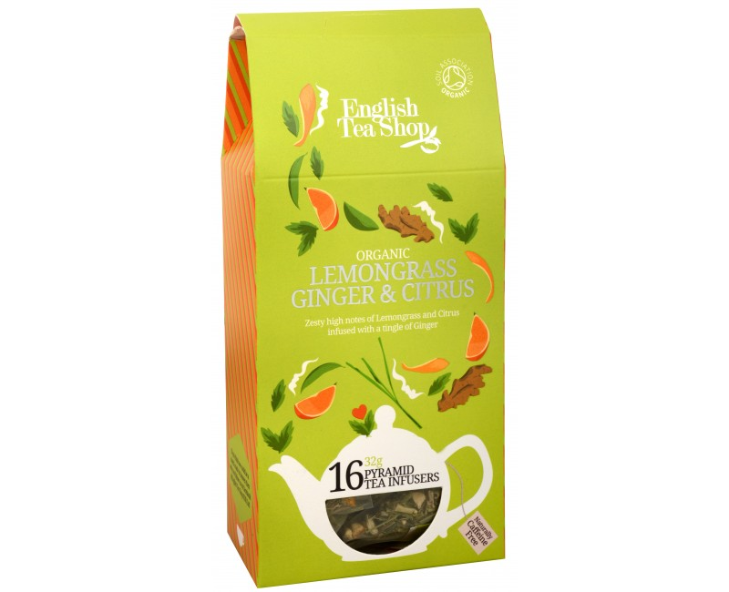 Ekologiška arbata ENGLISH TEA SHOP Lemongras ginger and citrus, 16 maišelių