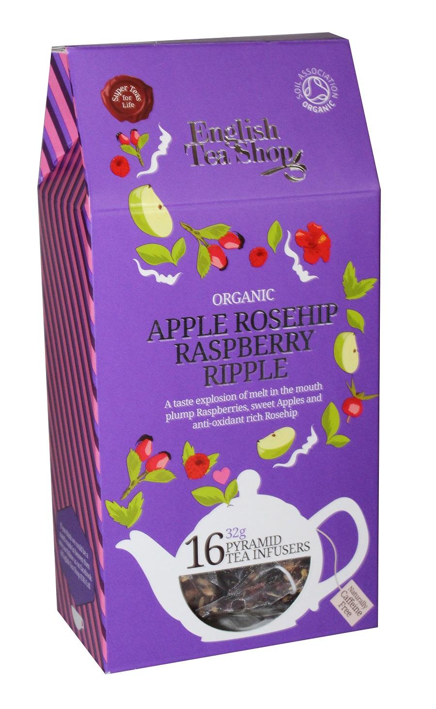Ekologiška arbata ENGLISH TEA SHOP Apple rosehip raspberry ripple, 16 maišelių