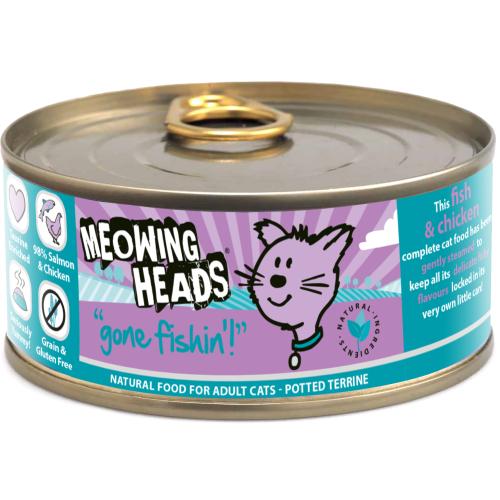 Kačių konservai MEOWING HEADS Wet Gone Fishin su žuvimi, 100 g