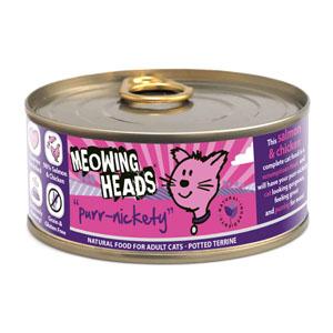 Konservai katėms MEOWING HEADS Wet Purr Nickety su lašiša ir vištiena, 100 g