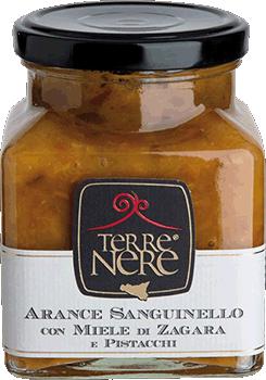Sanguinello apelsinų marmeladas su apelsinų žiedų medumi ir pistacijomis TERRE NERE, 240g