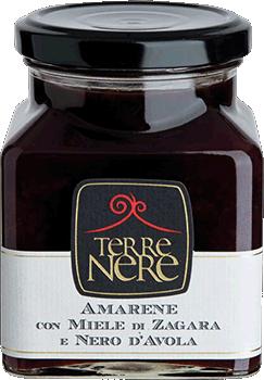 Juodųjų vyšnių džemas su apelsinų žiedų medumi ir Nero d'Avola vynu TERRE NERE, 240g