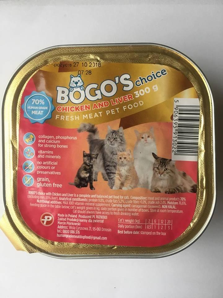 BOGO'S konservai katėms su vištiena ir kepenėlėmis, 300g