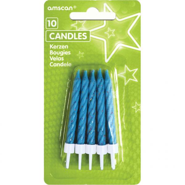 Mėlynų žvakučių rinkinys AMSCAN, 10 vnt.
