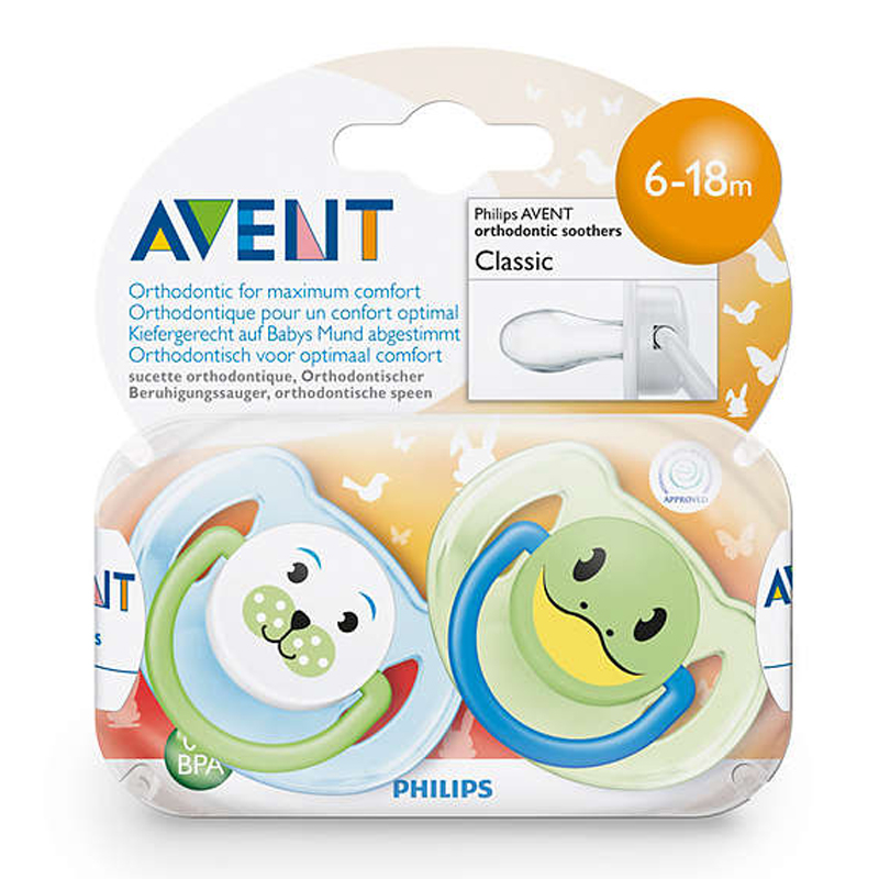 Silikoninis čiulptukas PHILIPS AVENT Gyvūnai N2 6-18 mėn. kūdikiams, 2 vnt.