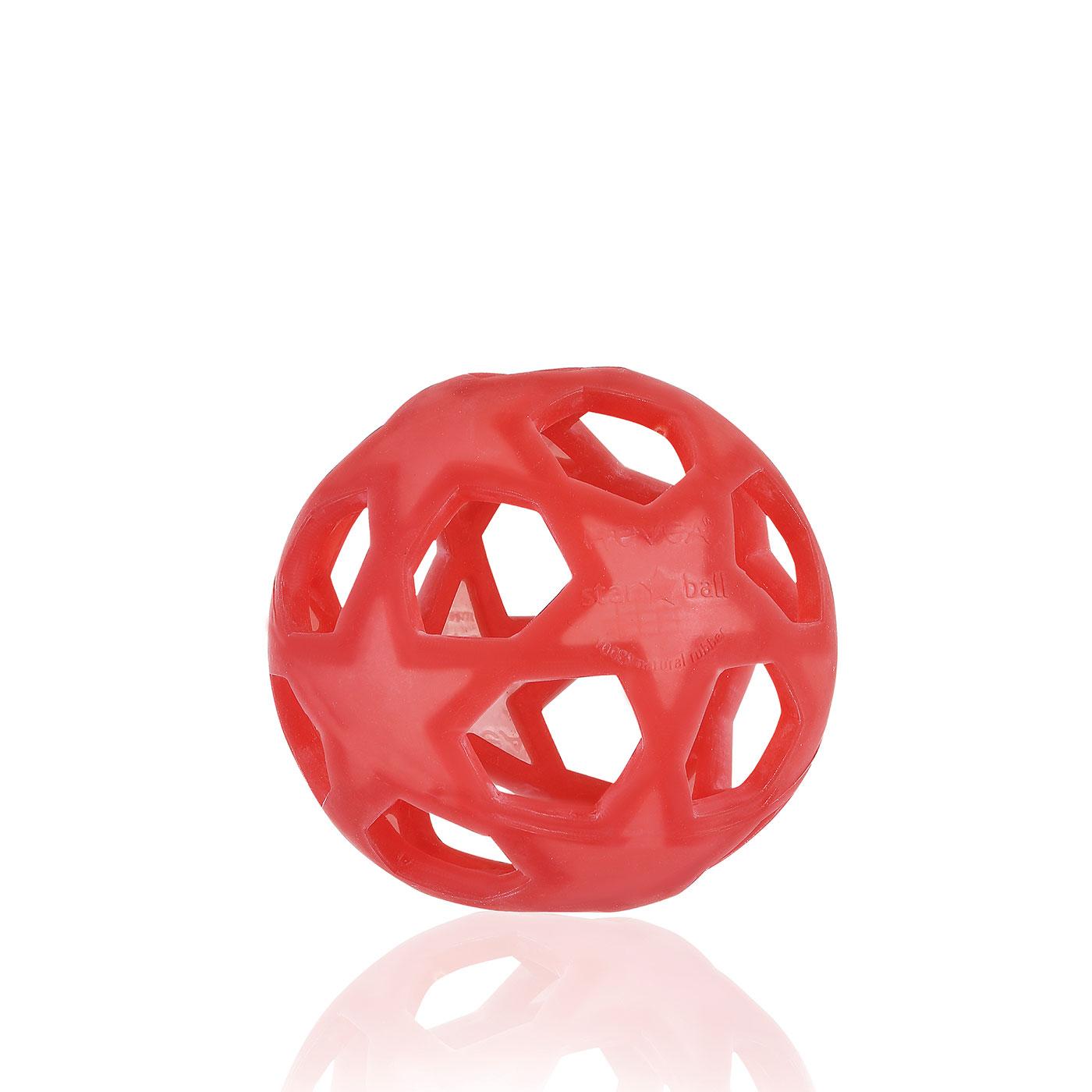 Raudonas lavinantis kamuolys HEVEA Žvaigždė iš kaučiuko vaikams nuo 0+ mėn.