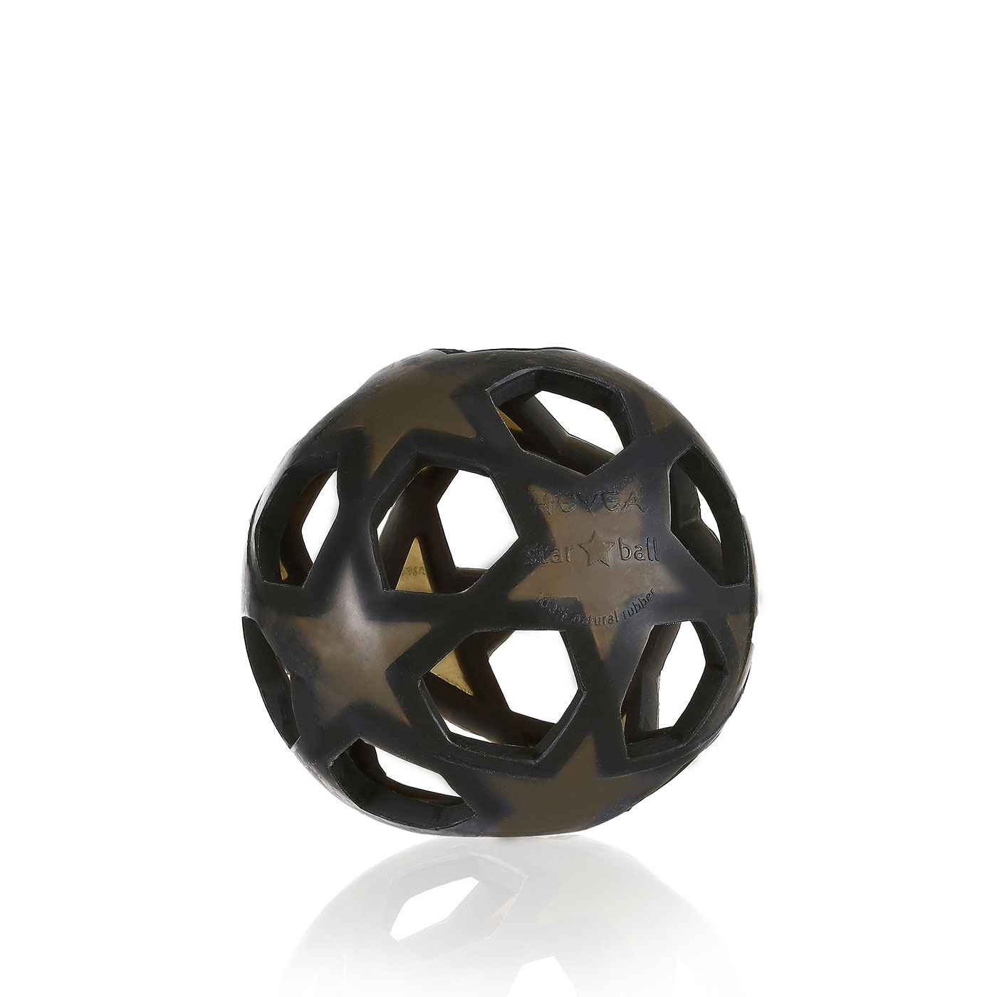Juodas lavinantis kamuolys HEVEA Žvaigždė iš kaučiuko vaikams nuo 0+ mėn.