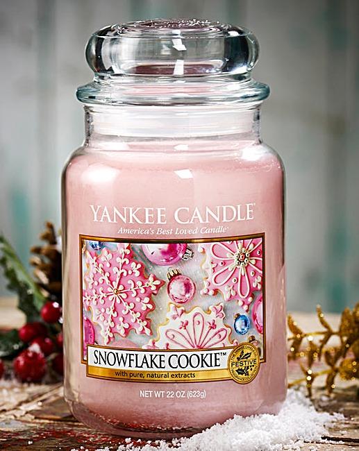 Žvakė stiklainėlyje YANKEE CANDLE Snowflake Cookie Candle didelė, 623 g, 1 vnt.