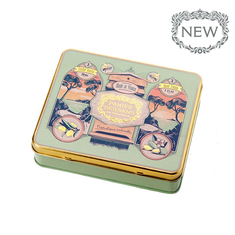 Rankų kremų rinkinys PANIER DES SENS su alyvuogių aliejumi, medumi ir saldžiaisiais migdolais, 3×30 ml