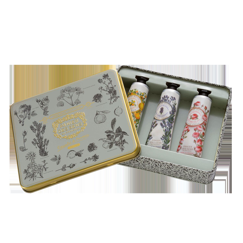 Rankų kremų rinkinys PANIER DES SENS su rožėmis, levandomis ir Provanso aromatais, 3×30 ml