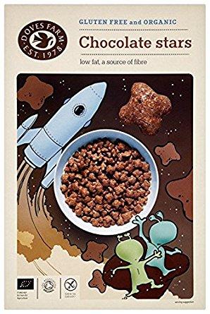 """""""DOVES FARM"""" Ekologiški dribsniai Šokoladinės žvaigždutės, 375g"""
