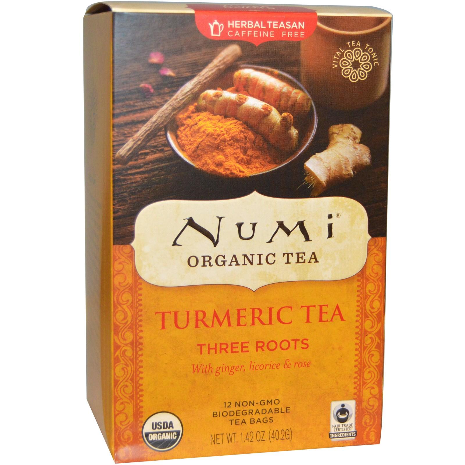 Ekologiška ciberžolės arbata Three Roots NUMI, 12 pakelių, 40,2g
