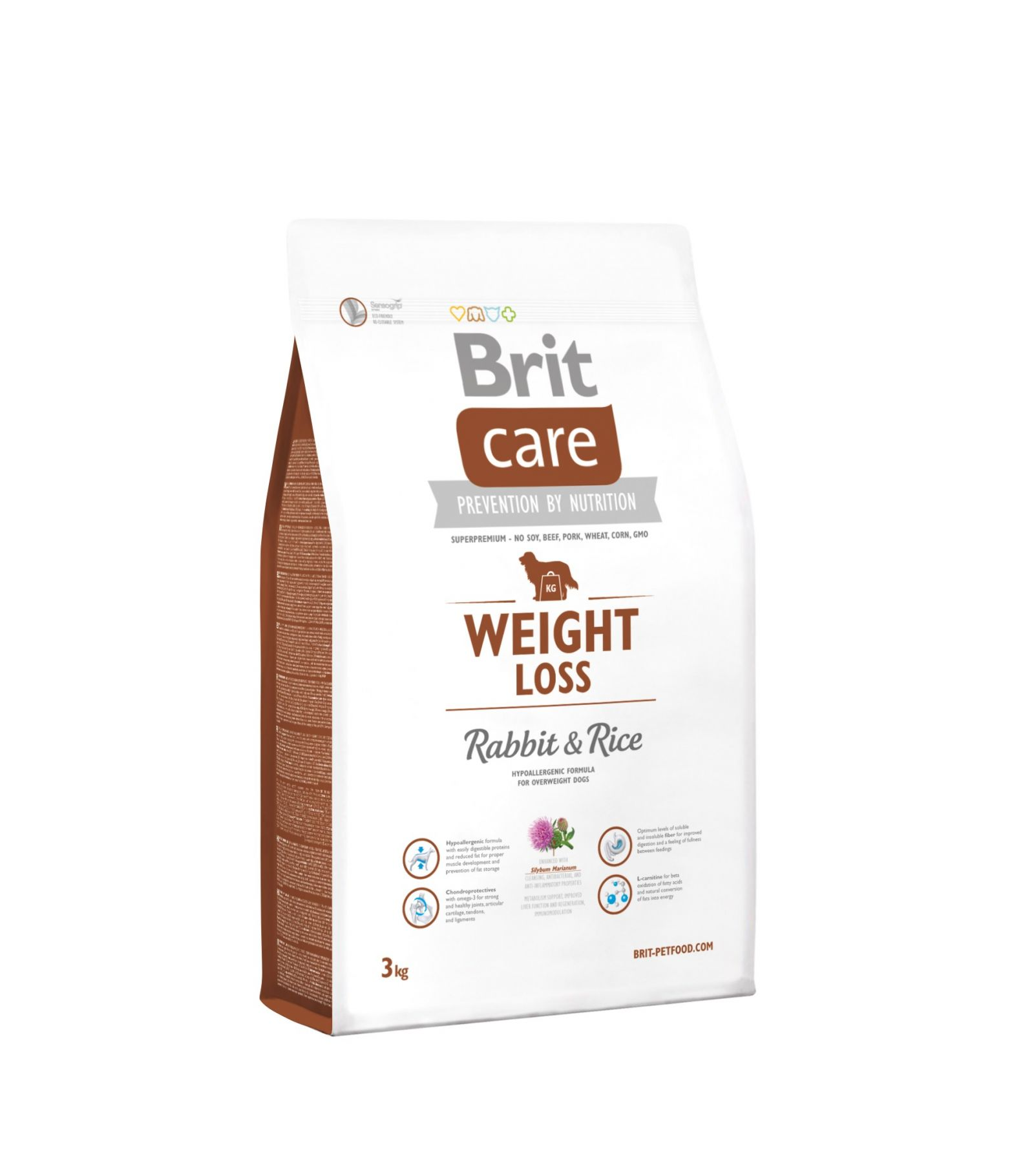 Sausas maistas šunims BRIT CARE Weight Loss Rabbit&Rice, 3 kg
