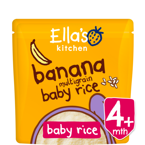 Ekologiški bananų skonio daugiagrūdžiai ryžiai ELLA'S KITCHEN kūdikiams nuo 4 mėn., 125 g