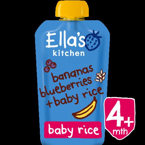 Ekologiška bananų, mėlynių ir ryžių tyrelė ELLA'S KITCHEN kūdikiams nuo 4 mėn., 120 g