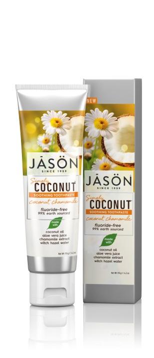 Raminamoji dantų pasta su kokosais ir ramunėlėmis JĀSÖN Simply Coconut™, 119g
