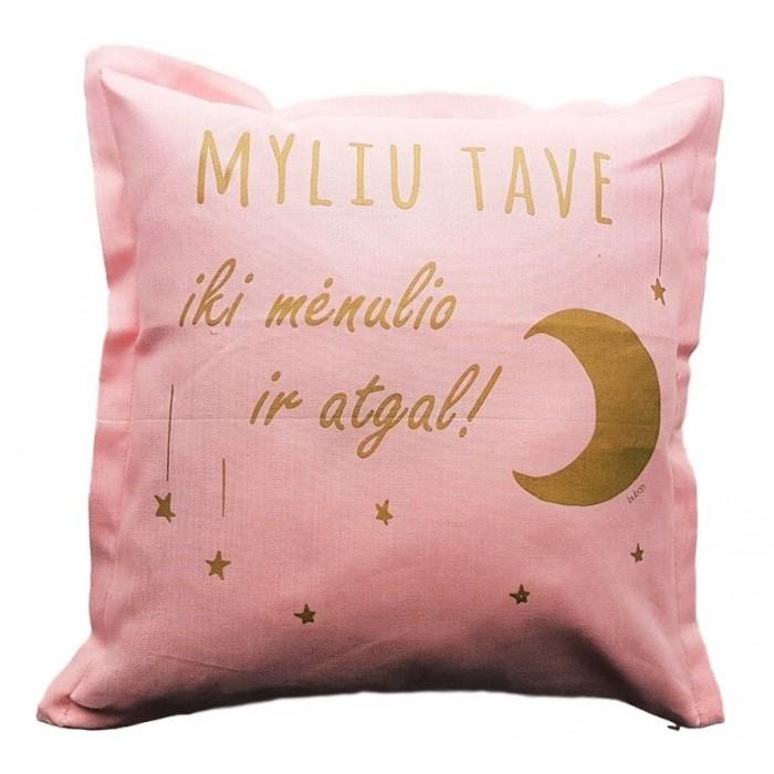 Rožinė dekoratyvinė pagalvėlė BUBOO Myliu tave, 45 x 45 cm